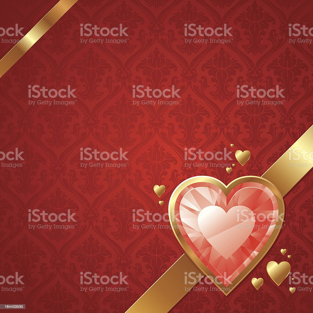 Valentines card with ruby hearts in golden frame royalty-free stock vector art
