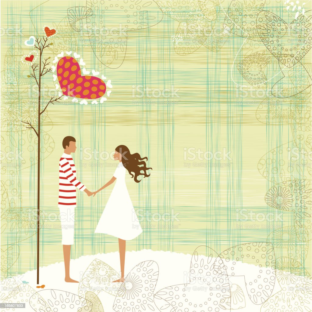 Valentine's couple and love tree royalty-free stock vector art