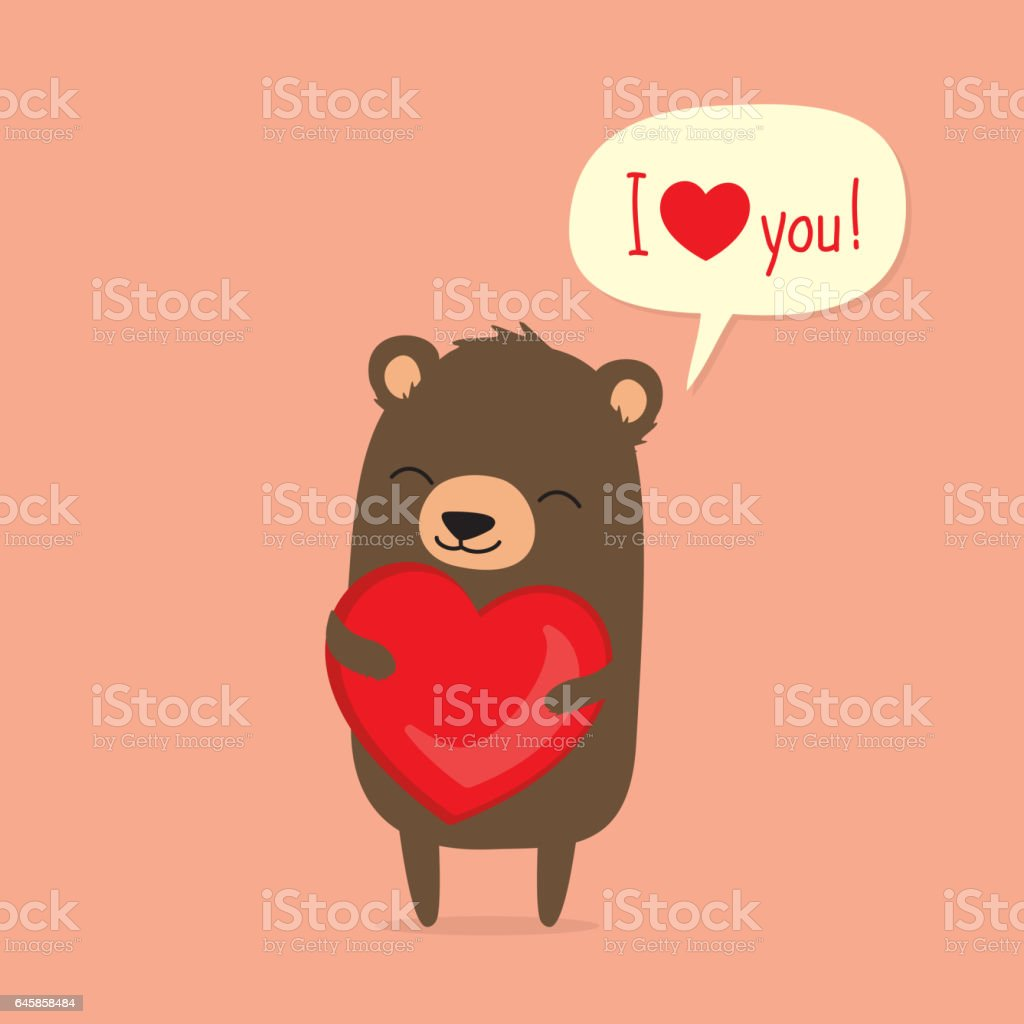 Valentines Day Card With Cute Cartoon Bear Holding Heart stock – Bear Valentines Card