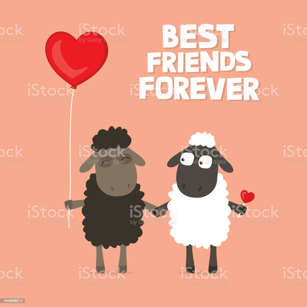 Valentines Day Card With Cute Cartoon Sheep Holding Hands With – Valentines Card Saying
