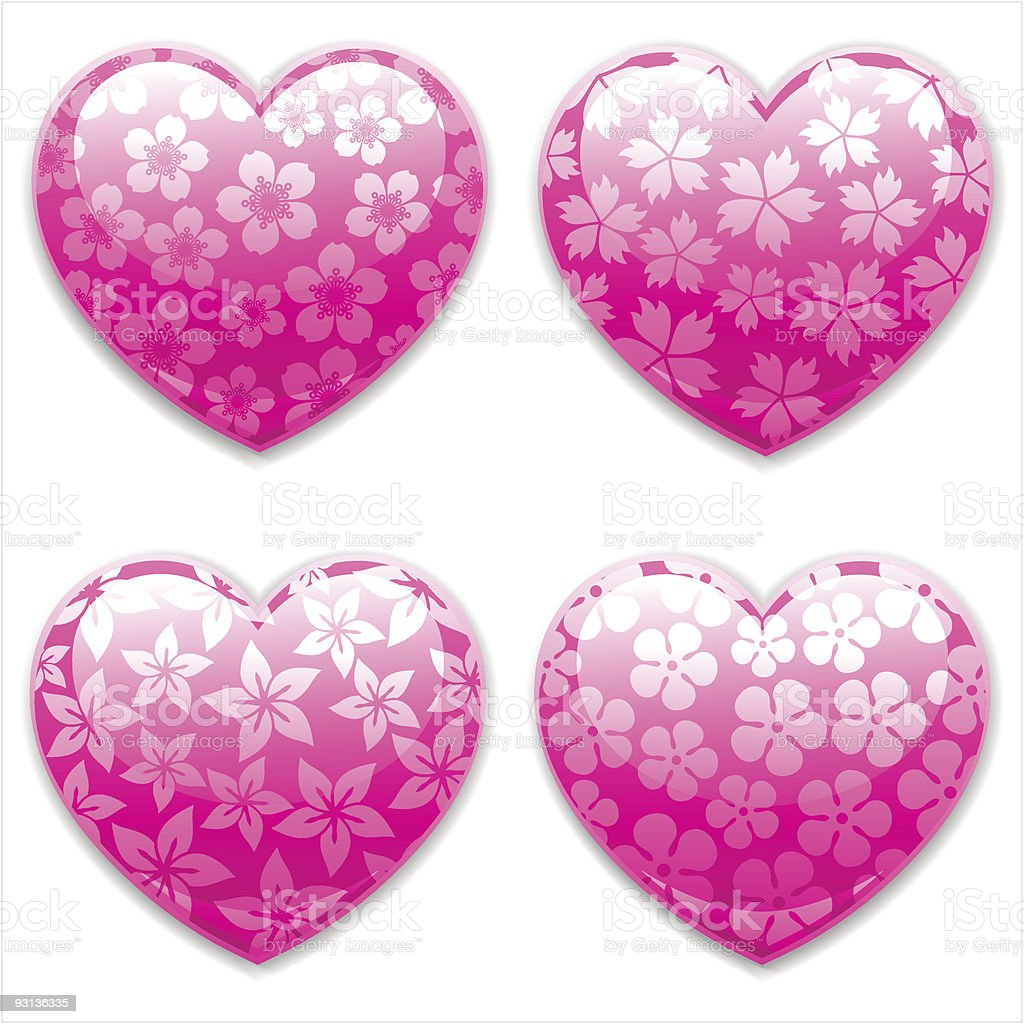 Valentines Day Hearts set. vector art illustration