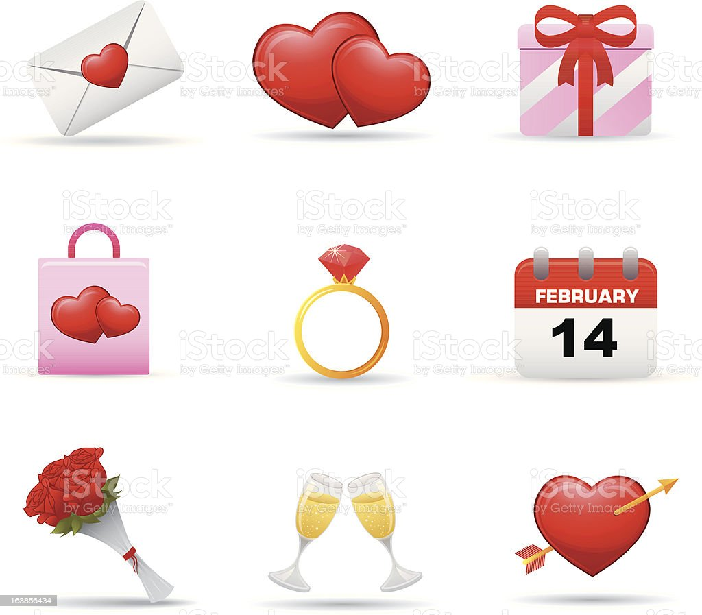 Valentine's Day Icons set royalty-free stock vector art