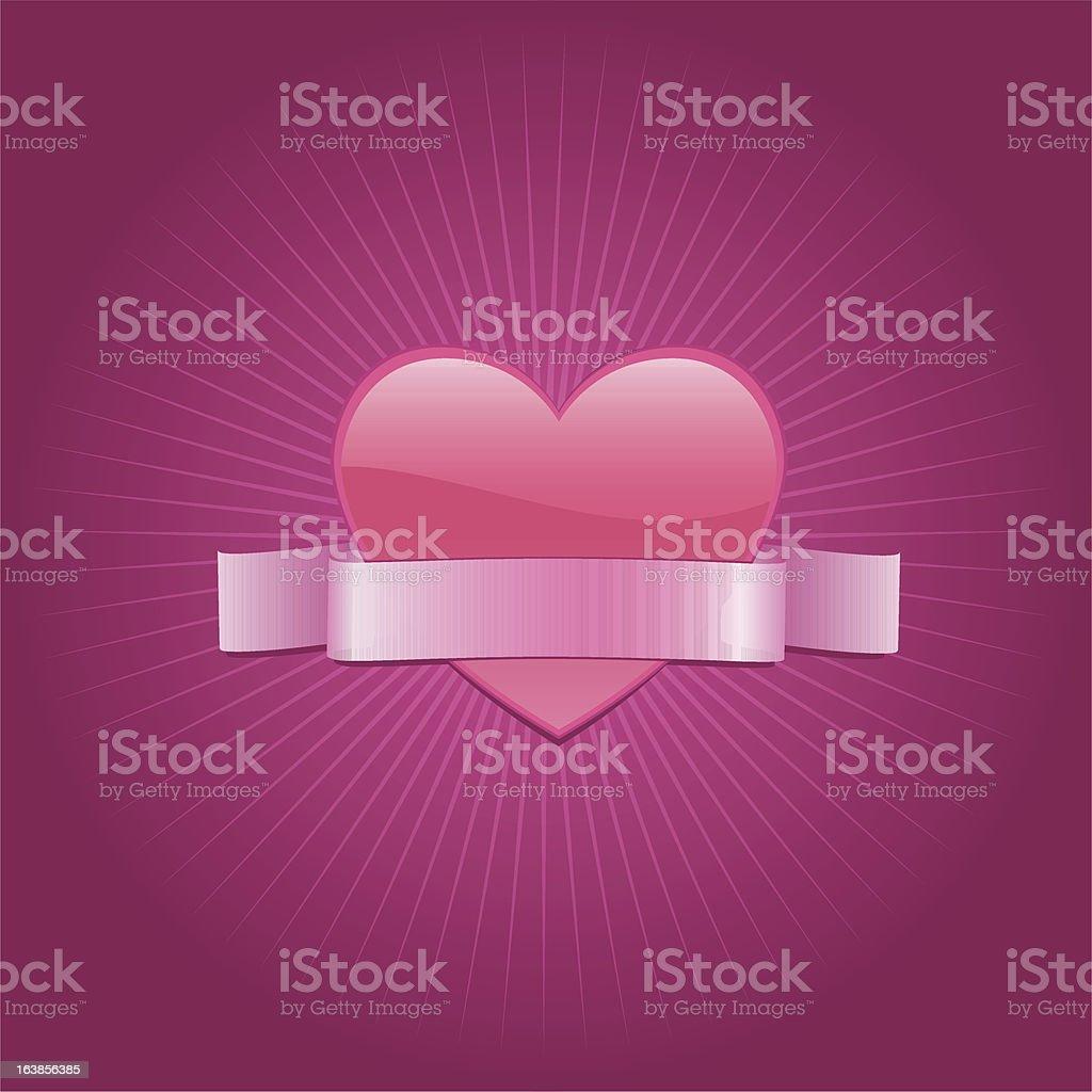 Valentine serca z Banner stockowa ilustracja wektorowa royalty-free