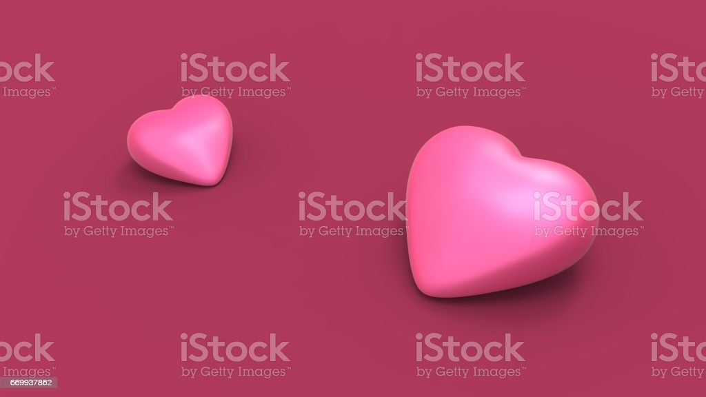 Valentine's pink heart on pink background with soft colors and shadows. 3D illustrating stock photo