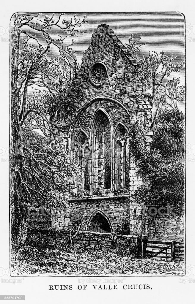 Valle Crucis Ruins, in Llangollen, Wales Victorian Engraving, Circa 1840 vector art illustration
