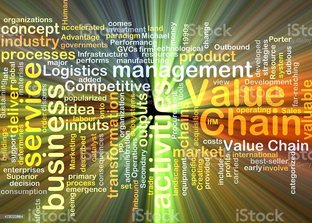 value chain wordcloud concept illustration glowing vector art illustration