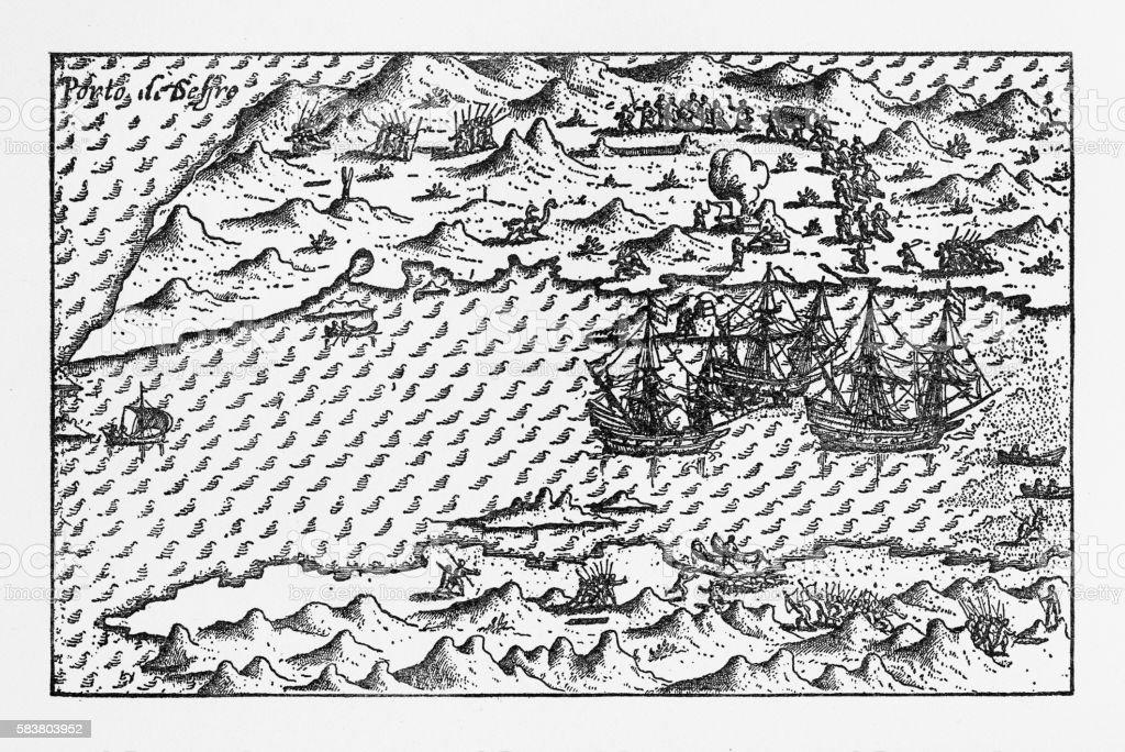 Van Noort at Porto Deseado Historical Map of 1598 vector art illustration