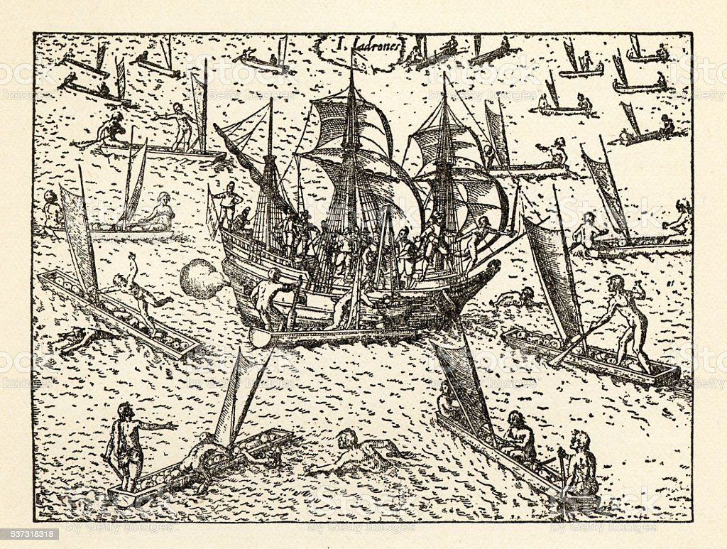 Van Noort Attacked by Theives on the Marianne Islands, 1600 vector art illustration
