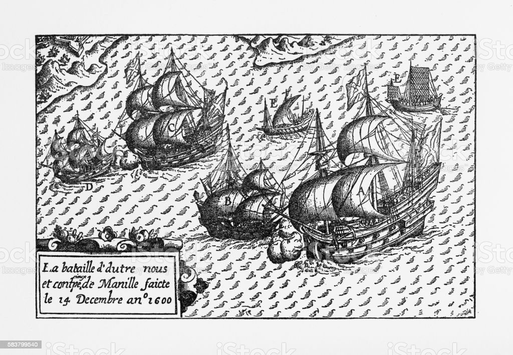 Van Noort Landing in Manila Bay, Philippines Engraving, 1600 vector art illustration