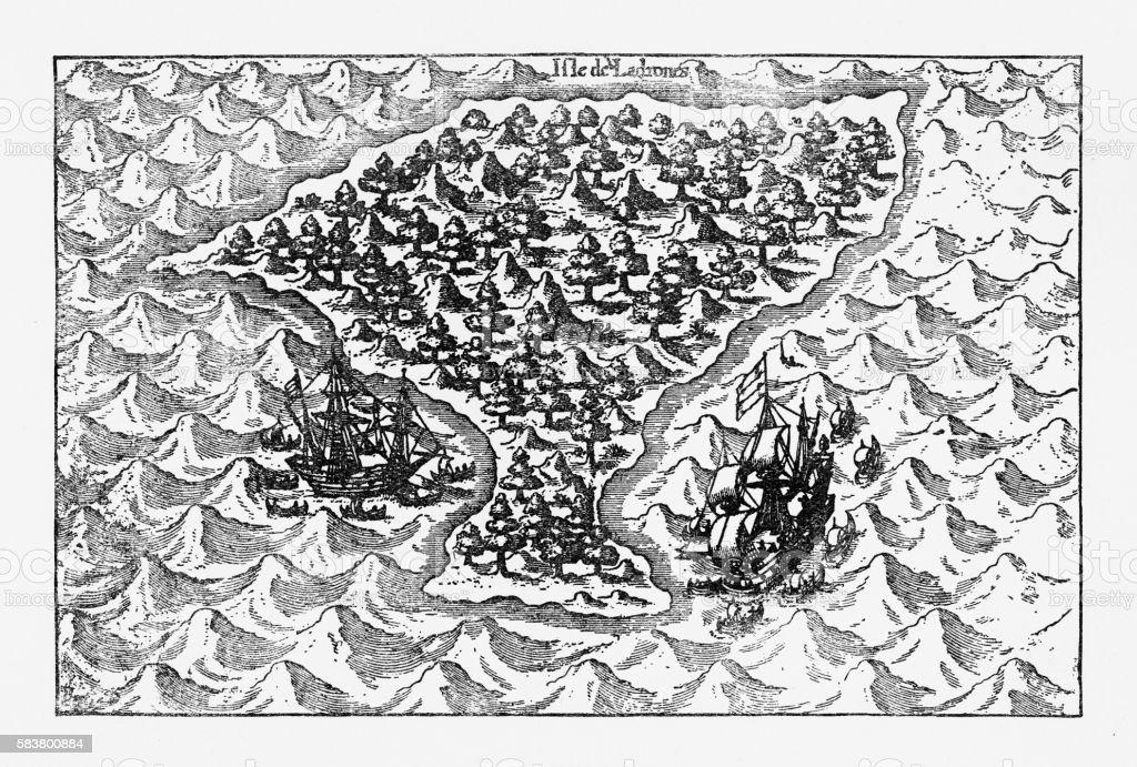Van Noort Sailing the Marianne Islands, Engraving 1600 vector art illustration
