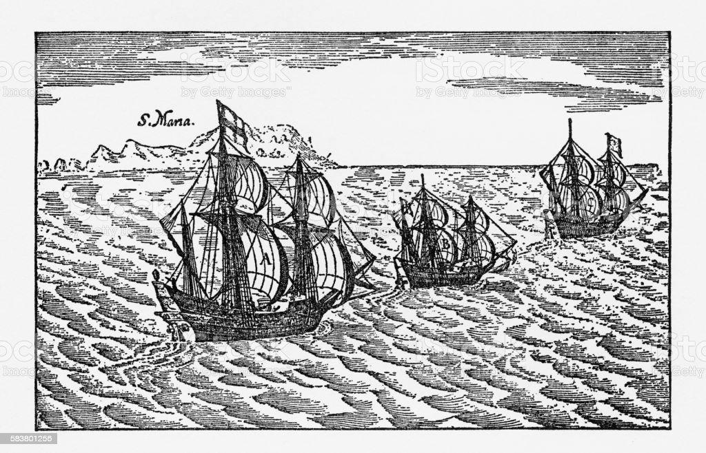 Van Noort Sailing the Strait of Magellan, Engraving of 1600 vector art illustration