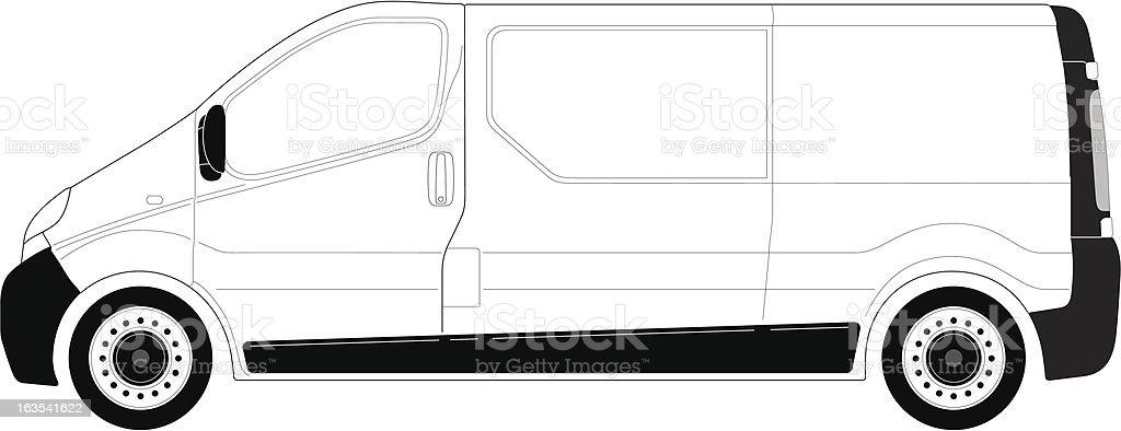 Van_leftside_line-art royalty-free stock vector art