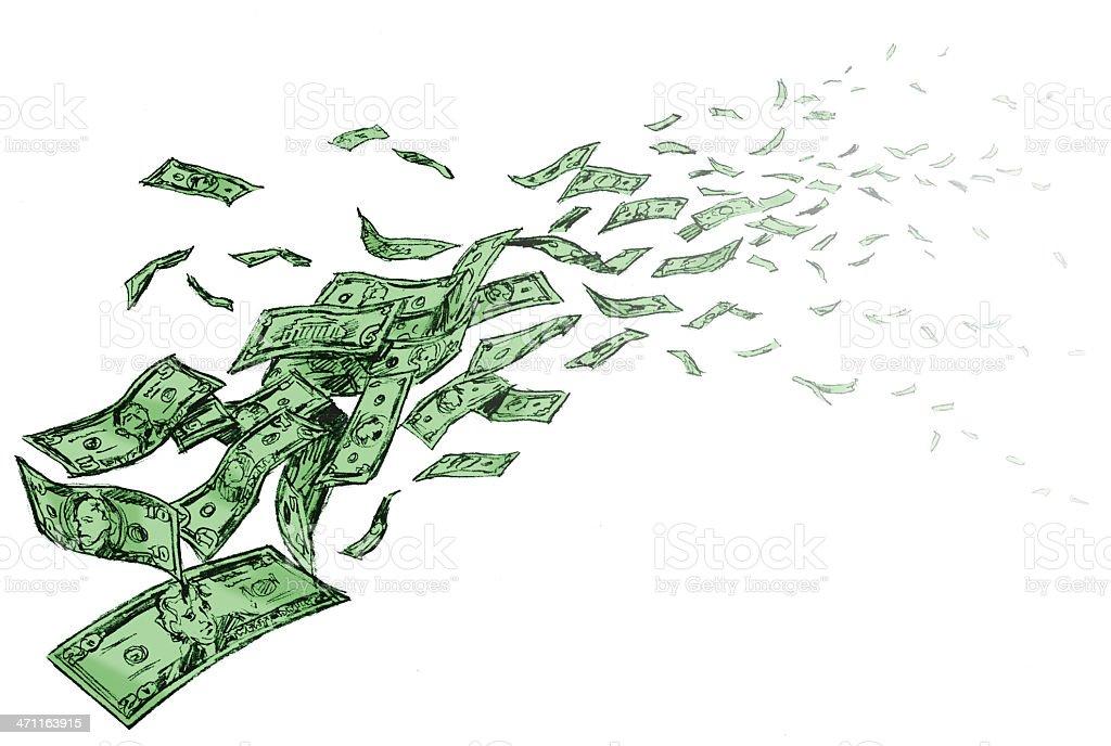 Vanishing Money - Dollar Bills Cartoon royalty-free stock vector art