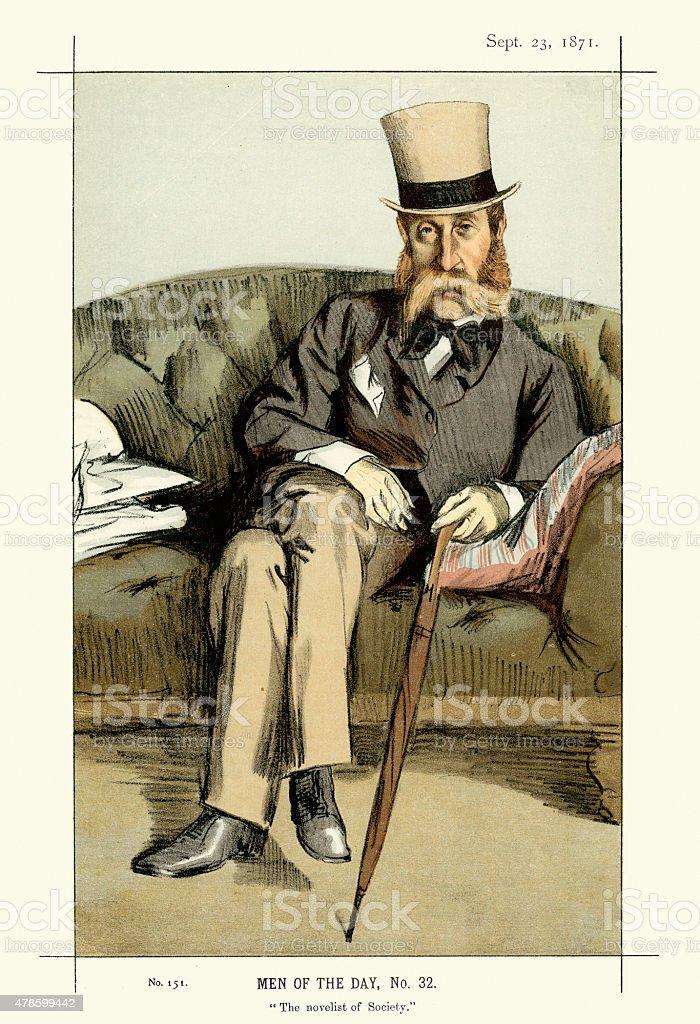 Vanity Fair Print of George Whyte-Melville vector art illustration