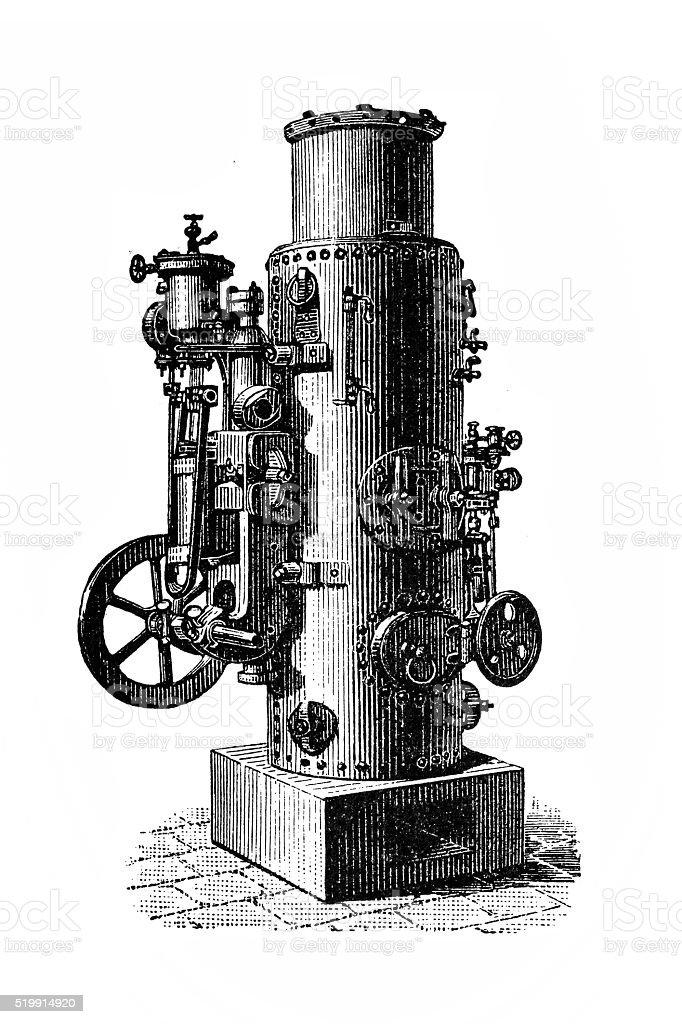 Vapor pump with vertical boiler vector art illustration