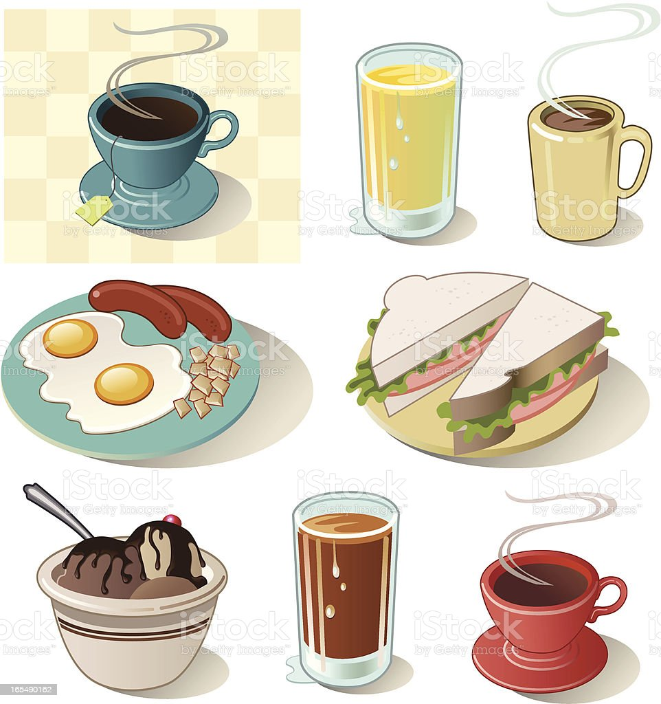 Variety of Diner Food Icons with Sandwiches and Drinks royalty-free stock vector art