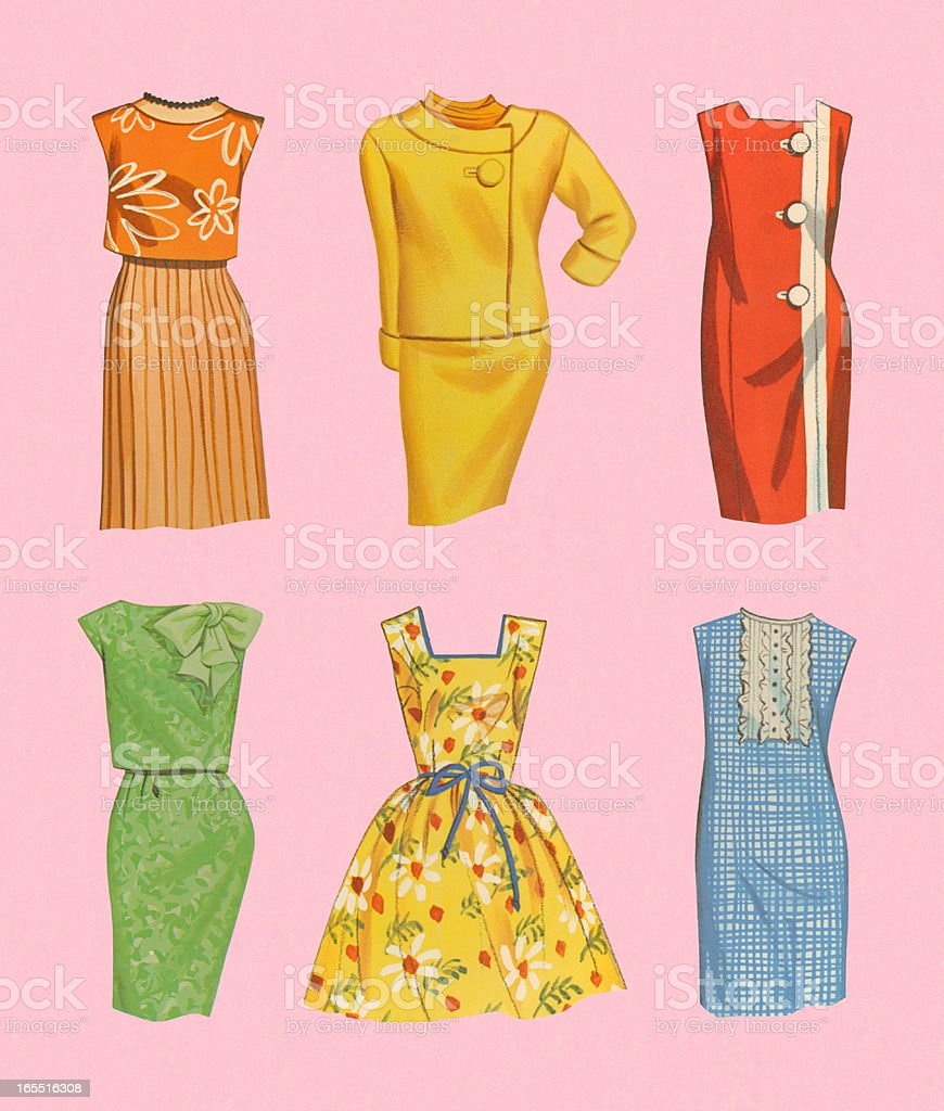 Variety of Dresses vector art illustration