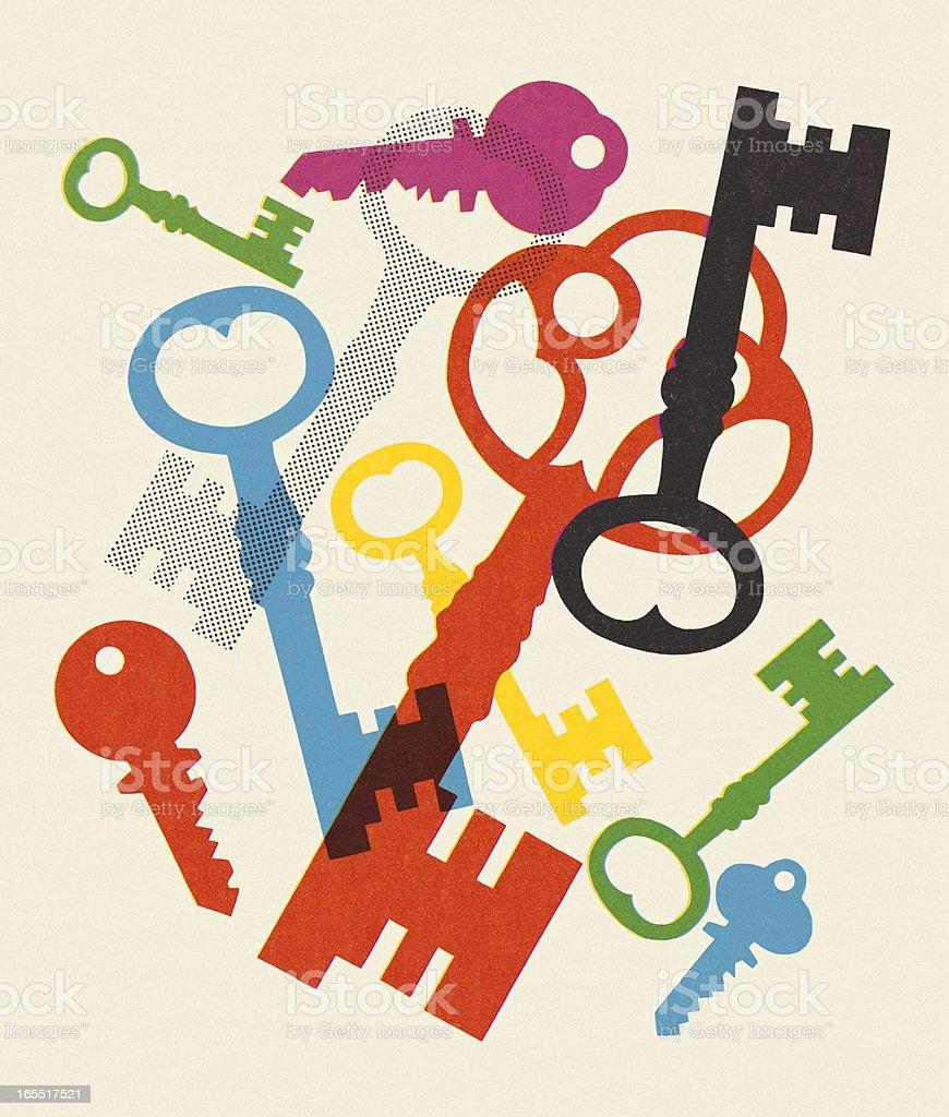 Variety of Keys vector art illustration