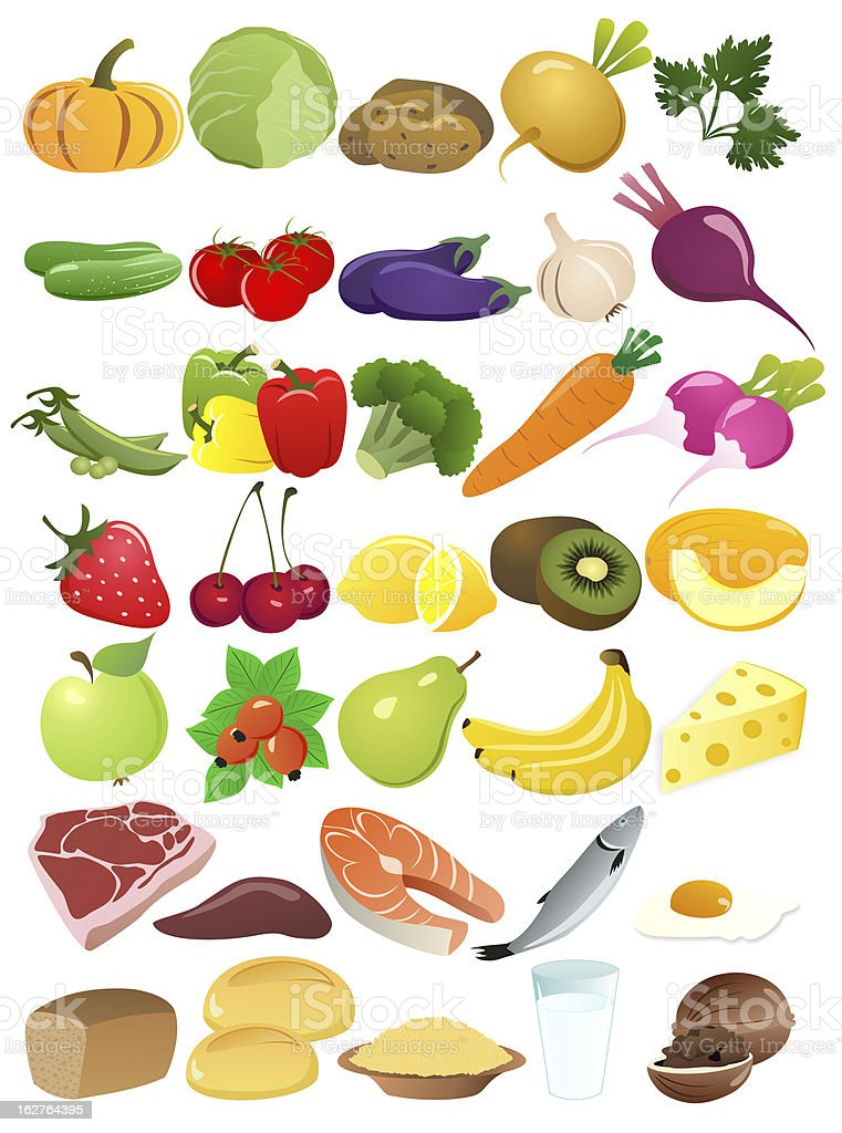 A variety of multicolored foods with fruits and vegetables royalty-free stock vector art