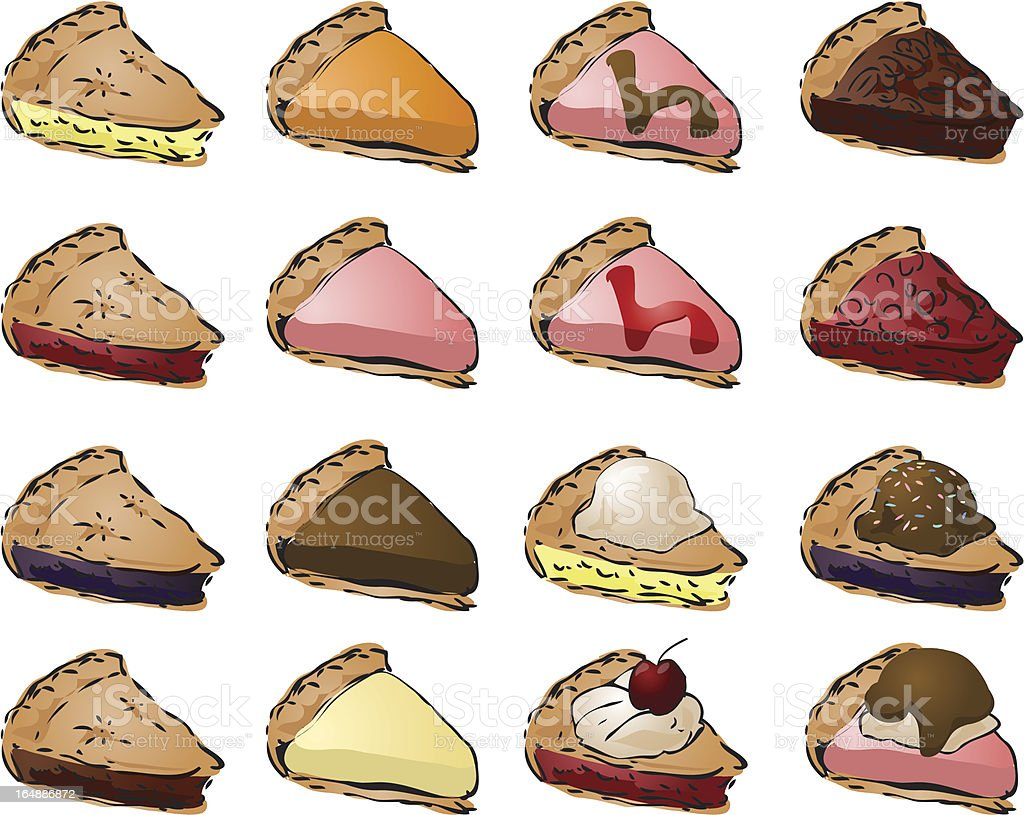 Variety of pies and toppings royalty-free stock vector art