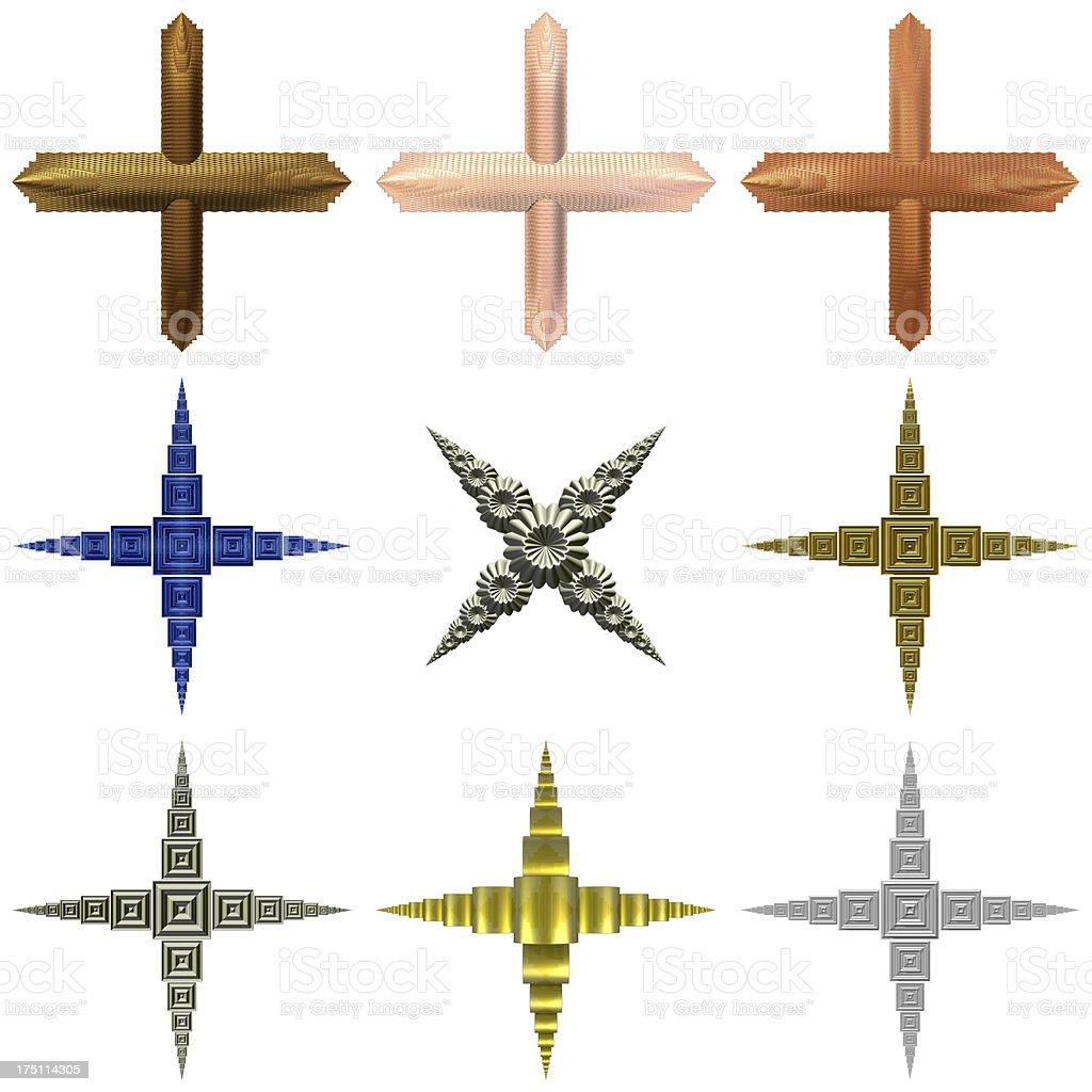 Various crosses set of nine decorative cross flourishes royalty-free stock vector art