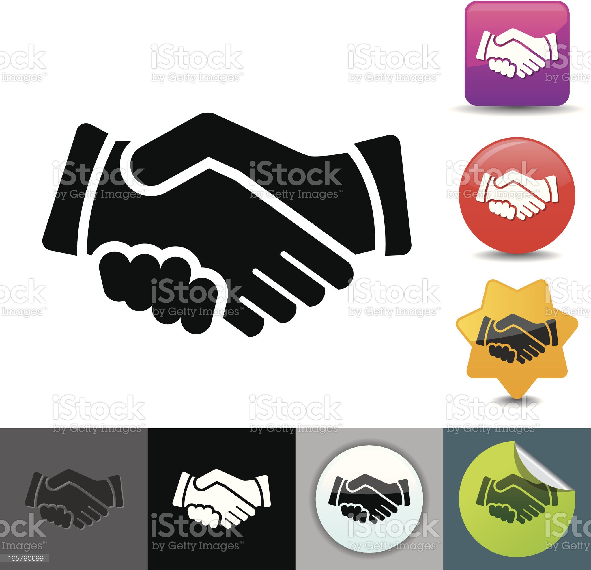 Various handshake icons, color and black and white royalty-free stock vector art