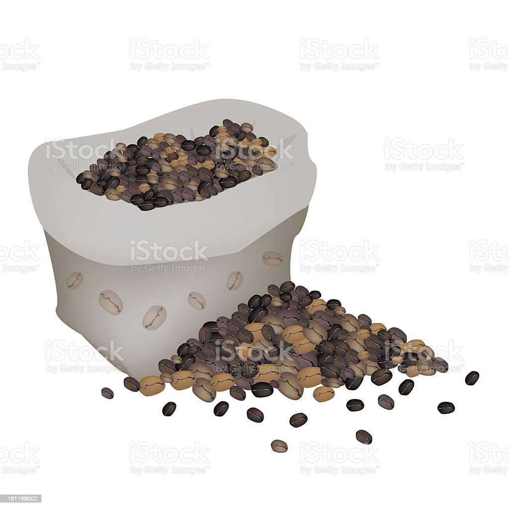 Various Kind of Coffee Beans in A Sack vector art illustration