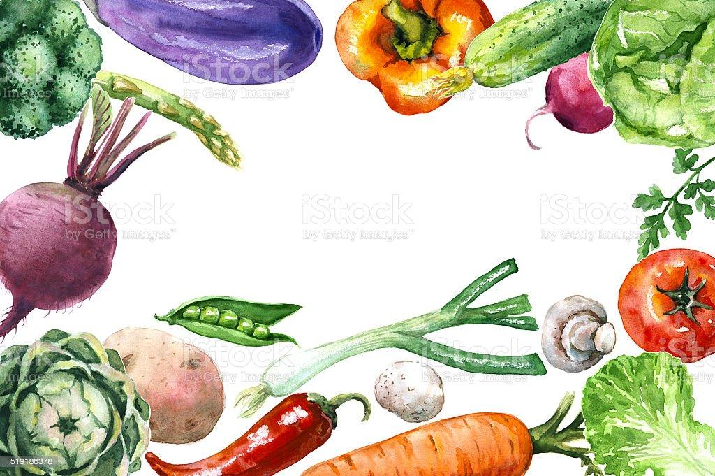 Various Vegetables Background vector art illustration