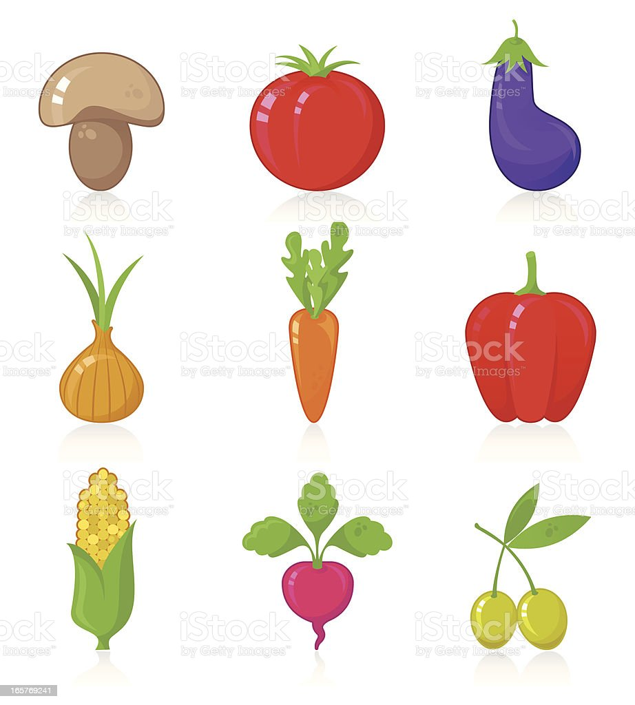 Various Vegetables icon set royalty-free stock vector art