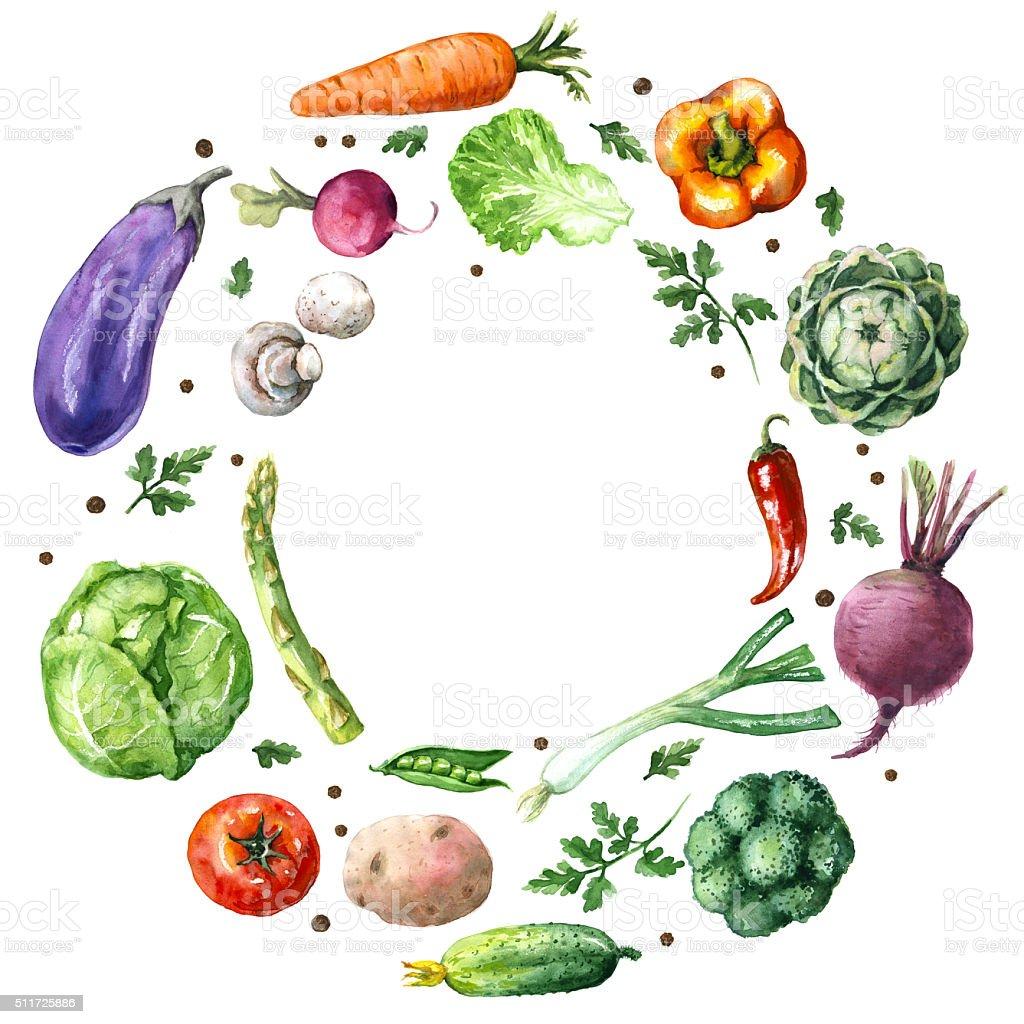 Various Vegetables Round Frame vector art illustration