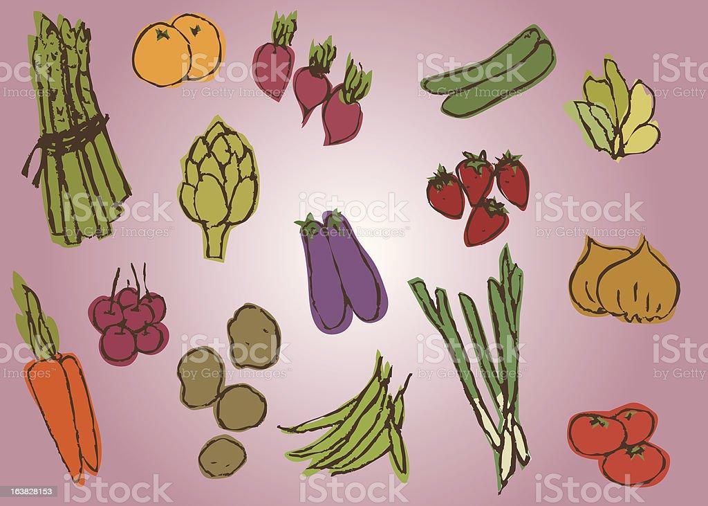 Various Veggies royalty-free stock vector art
