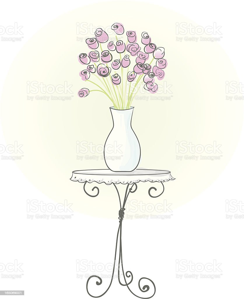 Vase of Roses vector art illustration