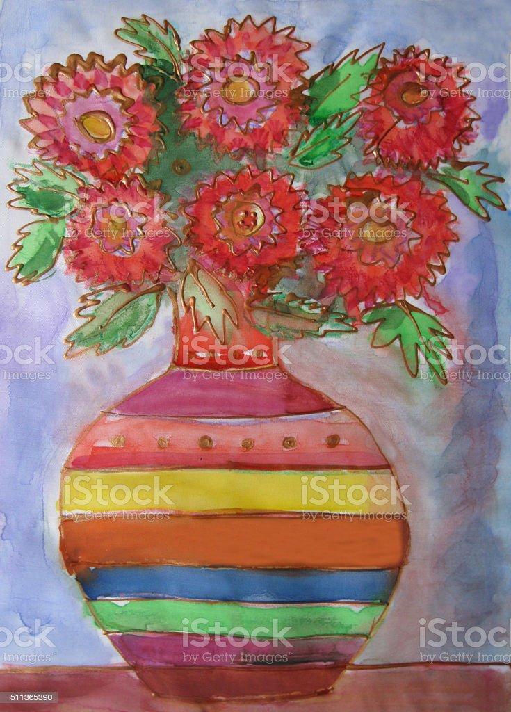 Vaso con un mazzo di fiori. Batik illustrazione royalty-free