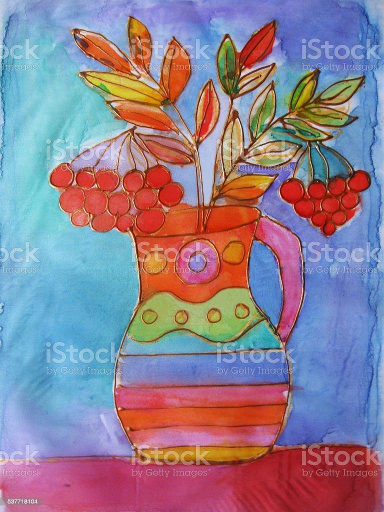 Vaso con bouquet di rowan. Batik illustrazione royalty-free