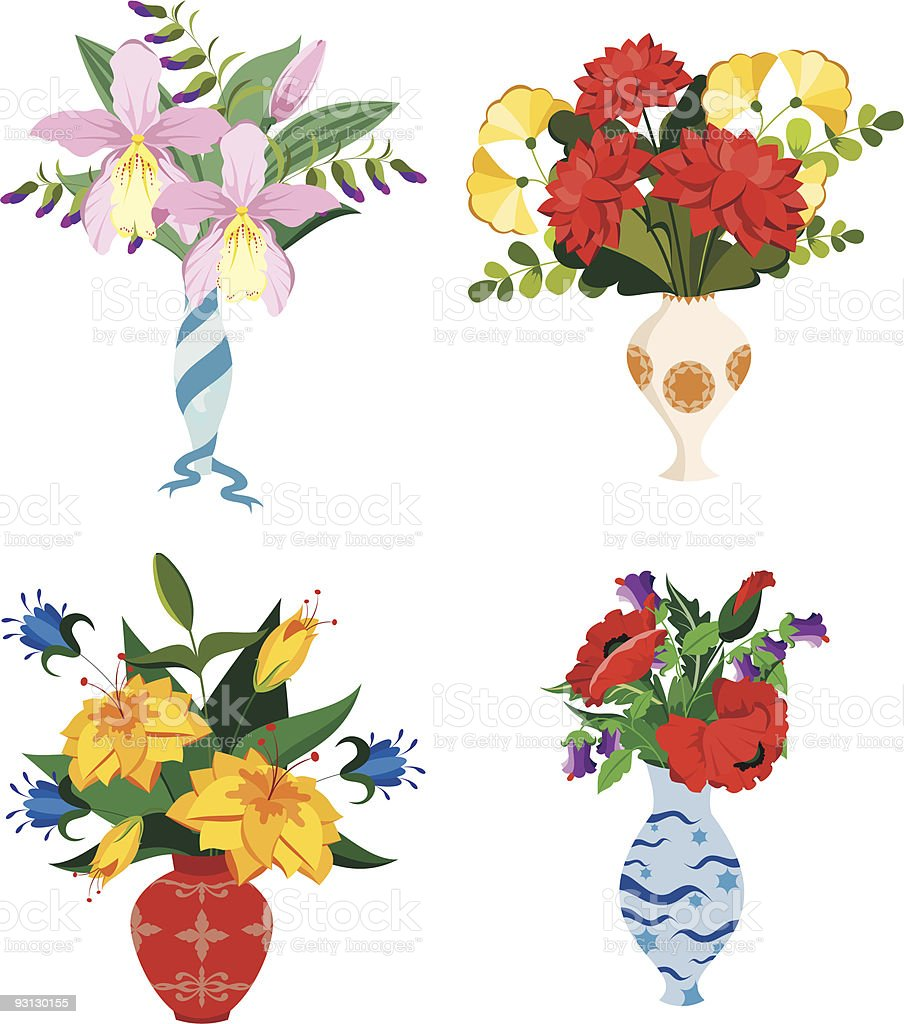 Vases and flowers vector art illustration