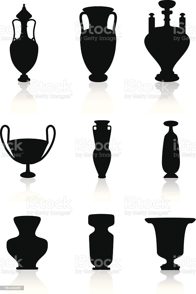 Vases, bottles, and urns royalty-free stock vector art