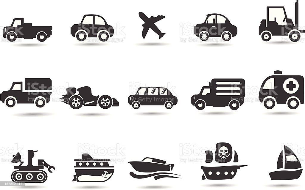 Vechicle, car and transport icons vector art illustration