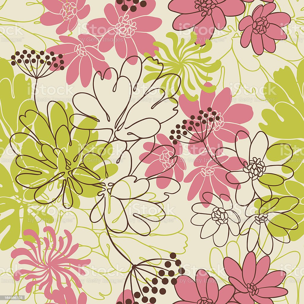 Vector background with hand drawn flowers. (Seamless Pattern) royalty-free stock vector art