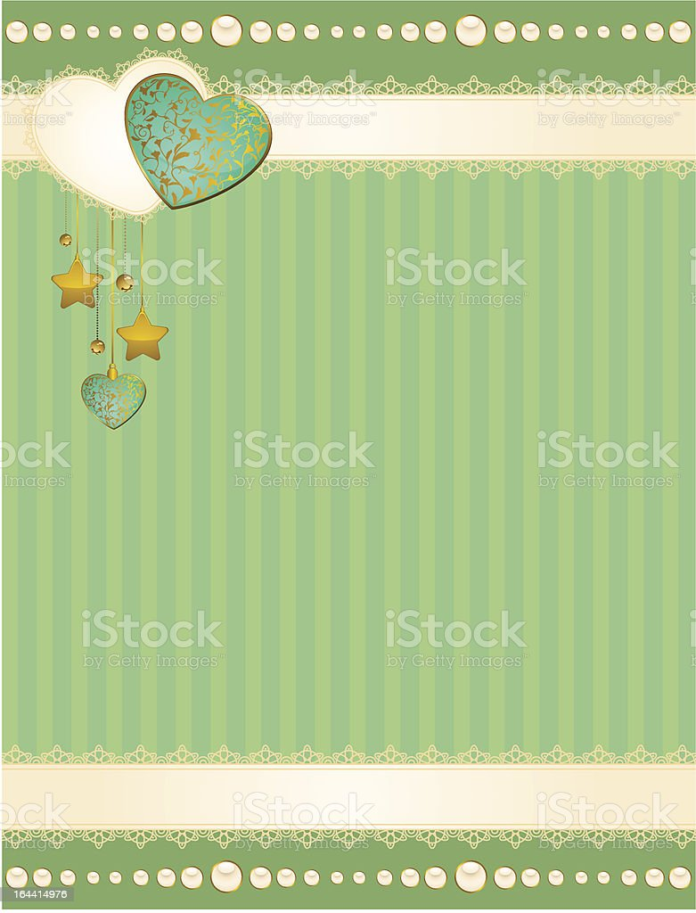 Vector background with lace ornaments and hearts royalty-free stock vector art