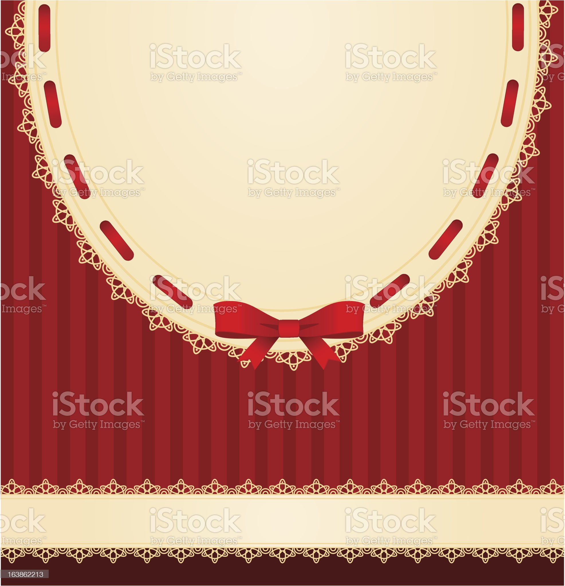 Vector background with lace ornaments and red bow royalty-free stock vector art