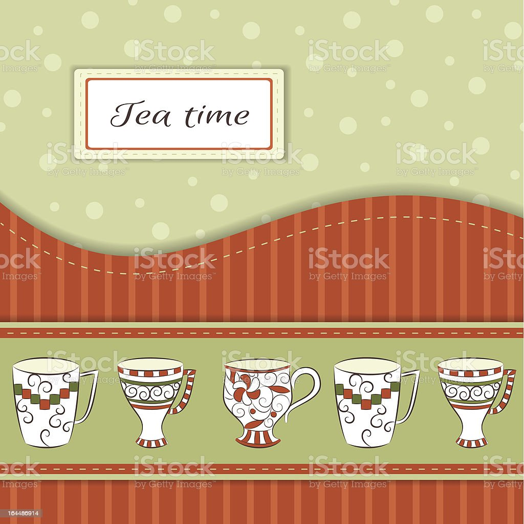 Vector background with tea cups royalty-free stock vector art