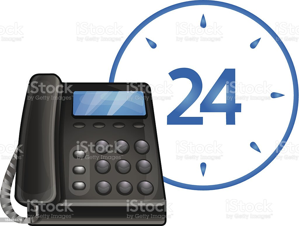 vector black phone - 24 hour call center support royalty-free stock vector art