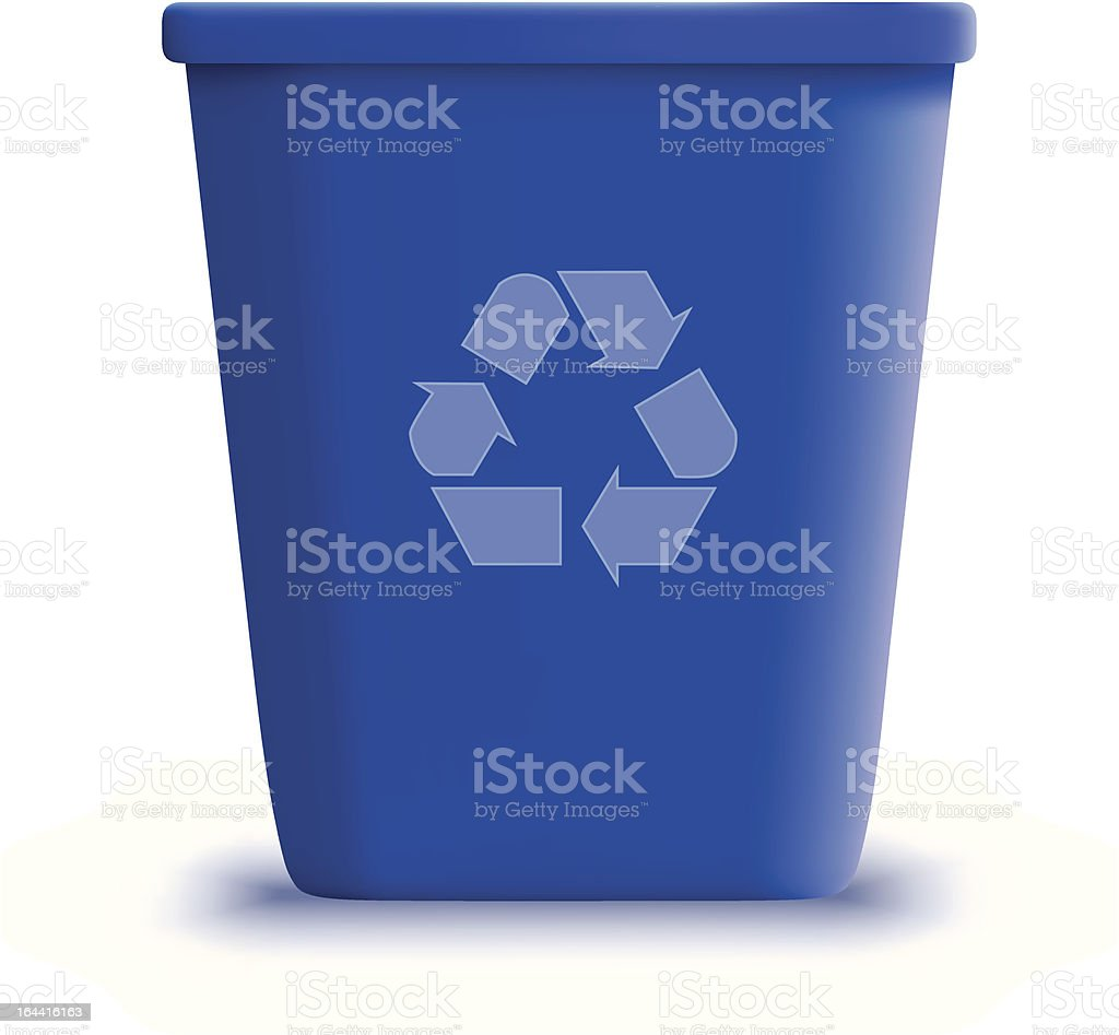 vector blue recycle garbage can royalty-free stock vector art