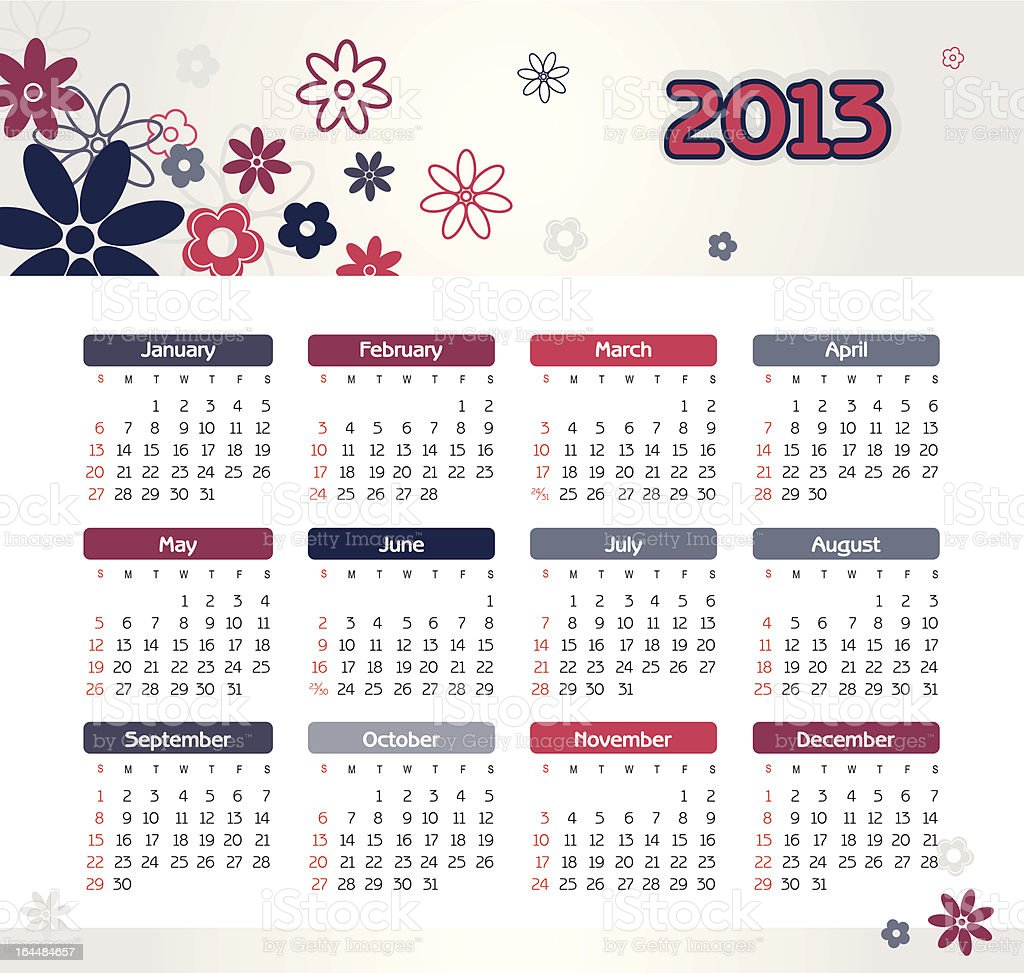 Vector calendar for 2013 royalty-free stock vector art