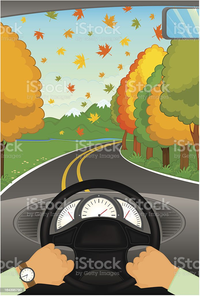 Vector cartoon hands hold the helm of automobile vector art illustration