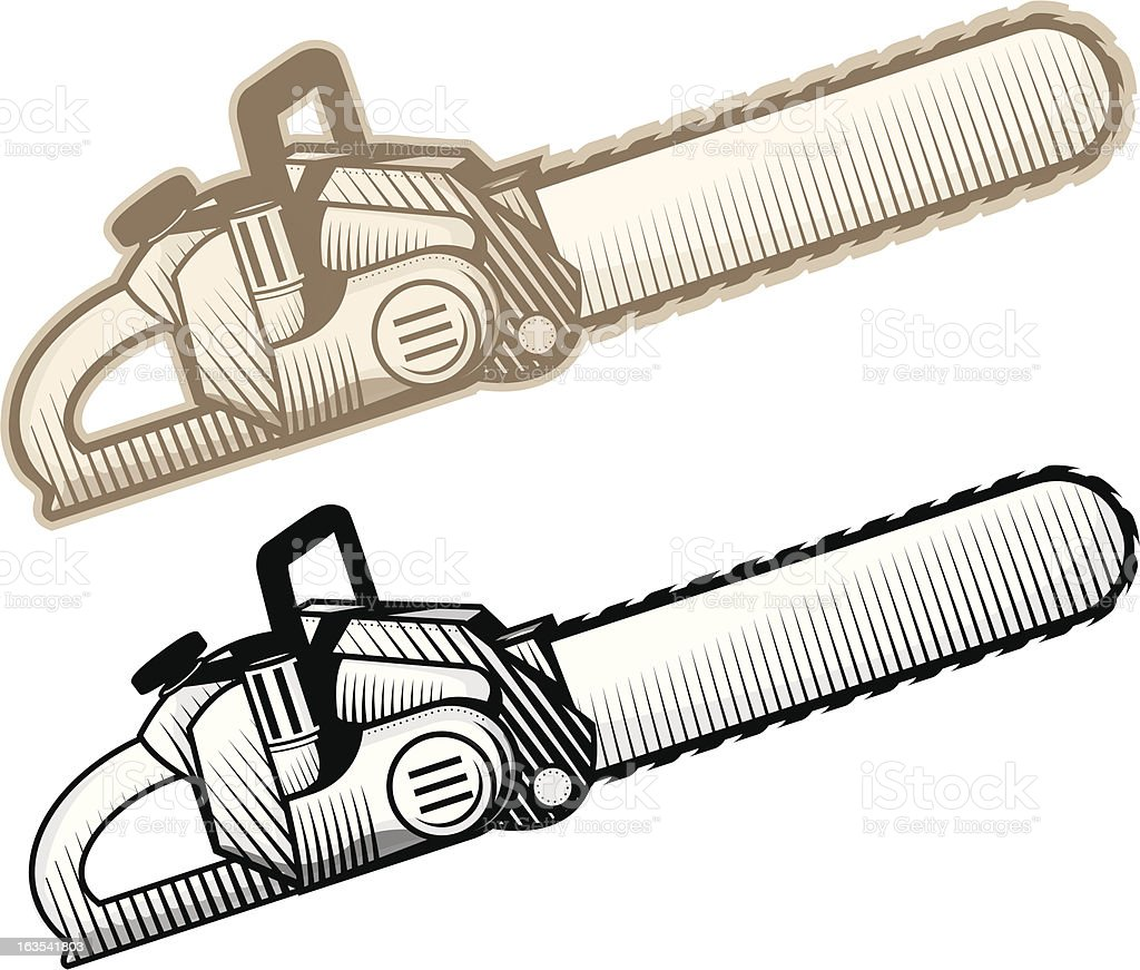 Vector Chainsaw, color and black and white vector art illustration