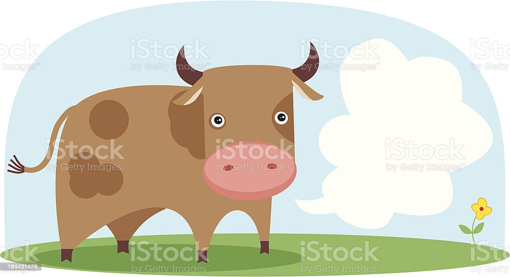 Vector cow in the field. royalty-free stock vector art