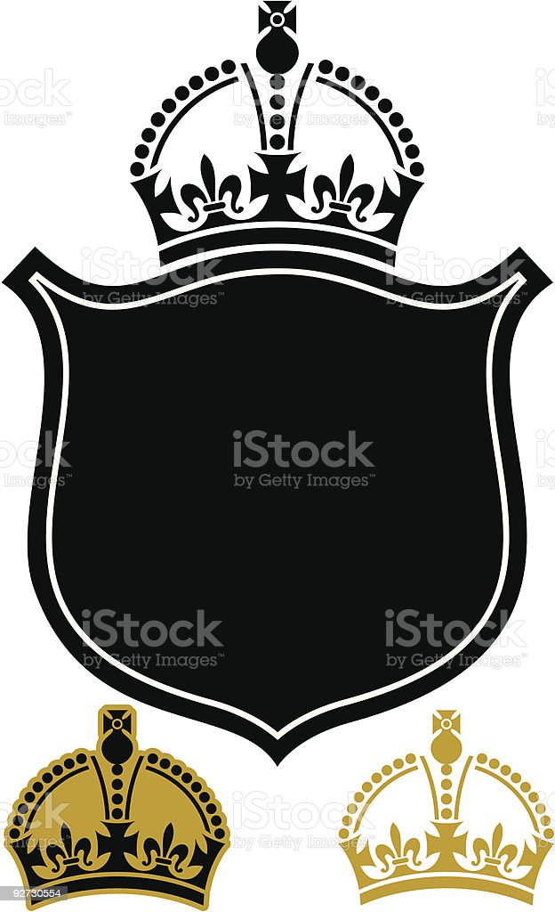 Vector Crown with Shield royalty-free stock vector art