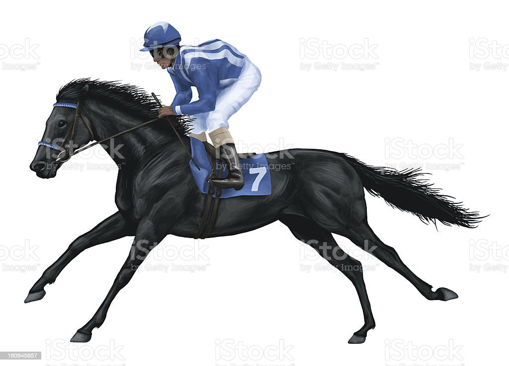 Vector drawing of black racehorse vector art illustration