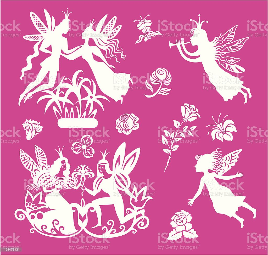 vector fairys and flowers set royalty-free stock vector art